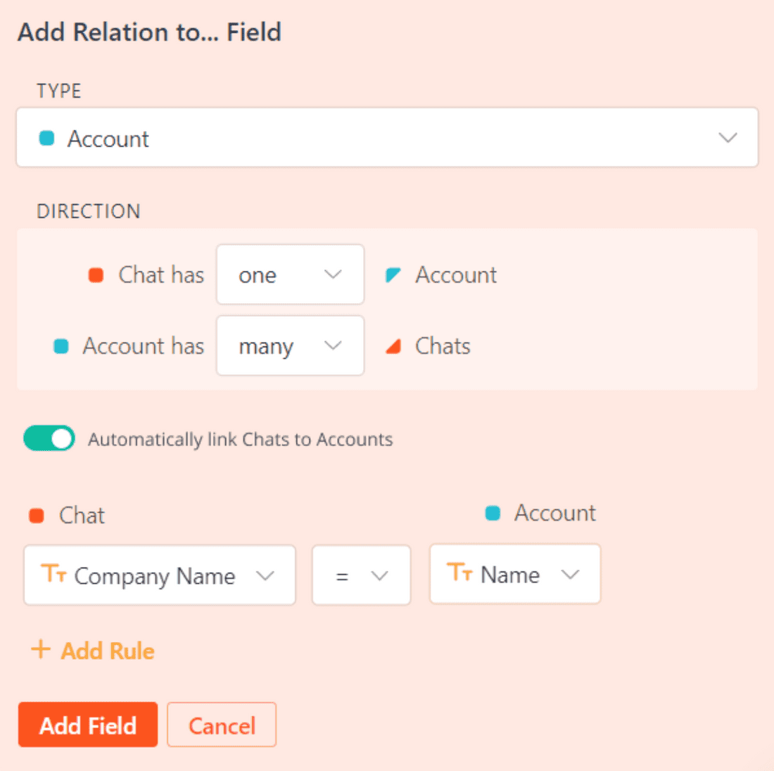 Set a relation between Chat and Account based on a rule