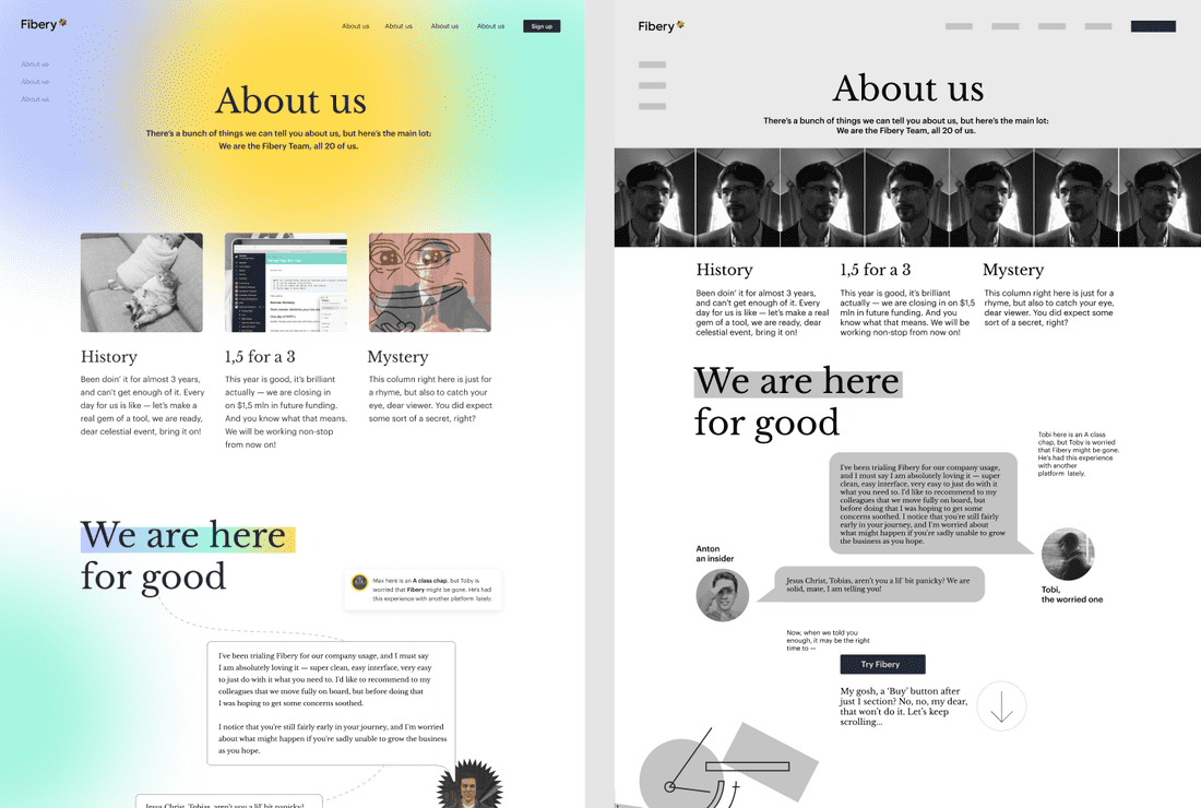 About Us design experiments