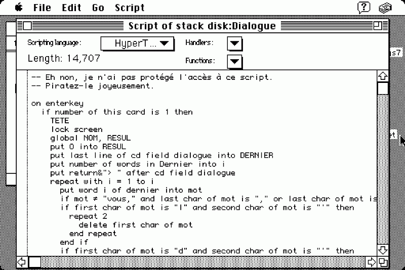 HyperCard script language to program behavior.
